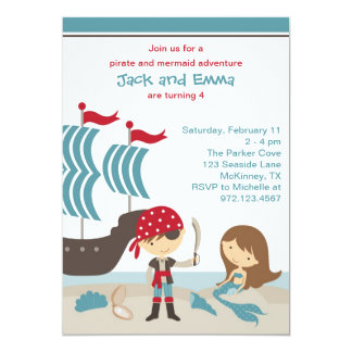 Pirate and Mermaid Invitation Announcement