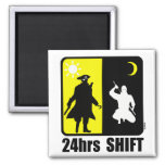 Pirate and ninja, 24hrs shift fridge magnets
