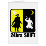 Pirate and ninja, 24hrs shift greeting card