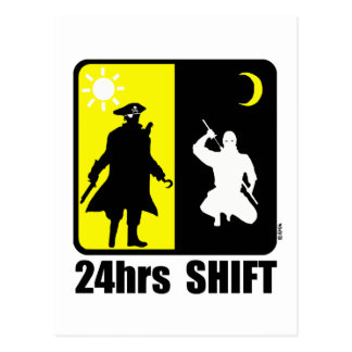 Pirate and ninja, 24hrs shift post cards
