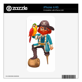 Pirate and parrot iPhone 4 skins