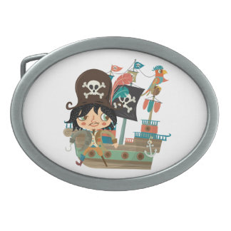Pirate and Pirate Ship Oval Belt Buckle