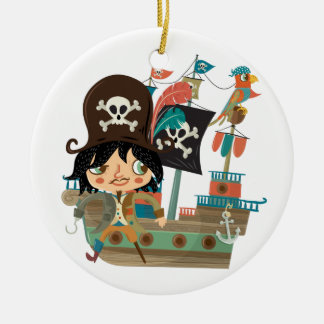 Pirate and Pirate Ship Double-Sided Ceramic Round Christmas Ornament