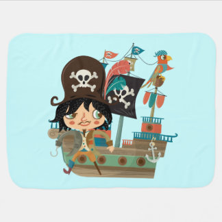 Pirate and Pirate Ship Receiving Blanket