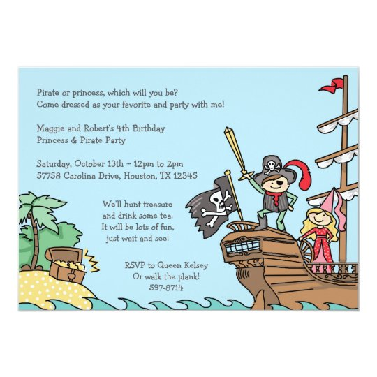 Pirate and Princess Invitations