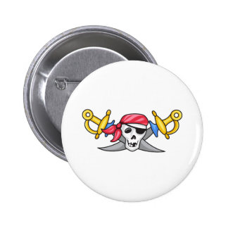 PIRATE AND SWORDS 2 INCH ROUND BUTTON