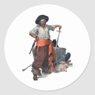 Pirate And Treasure Classic Round Sticker