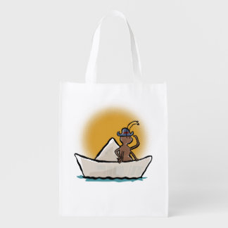 pirate ant on a paper boat grocery bag