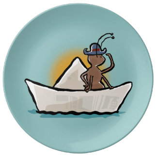 pirate ant on a paper boat plate
