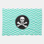 Pirate; Aqua Green Chevron Kitchen Towel