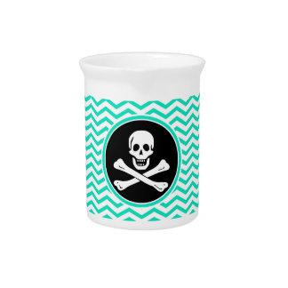 Pirate; Aqua Green Chevron Beverage Pitcher