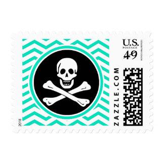 Pirate; Aqua Green Chevron Stamp