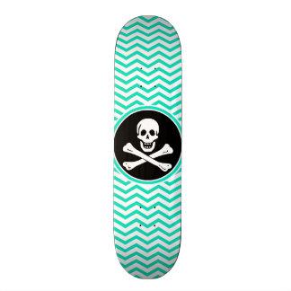 Pirate; Aqua Green Chevron Skateboard Deck
