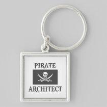 Pirate Architect Silver-Colored Square Keychain
