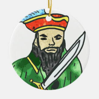 Pirate arrg - green Double-Sided ceramic round christmas ornament