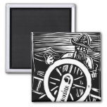 Pirate at the Helm Fridge Magnet