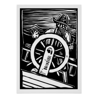 Pirate at the Helm Posters