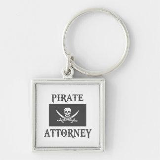 Pirate Attorney Silver-Colored Square Keychain