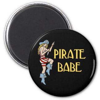 Pirate Babe 2 Inch Round Magnet