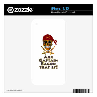 Pirate Bacon Skull Arr Captain Bacon that is!! iPhone 4S Skins