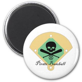 Pirate Baseball w/ Field Background 2 Inch Round Magnet