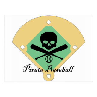 Pirate Baseball w/ Field Background Postcard