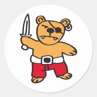 Pirate bear round stickers
