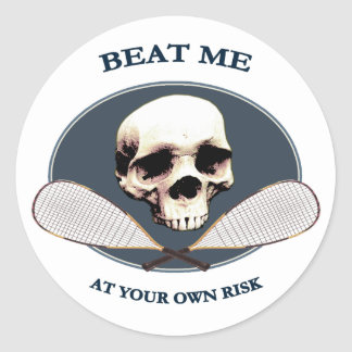 Pirate Beat Me Racquetball Round Stickers