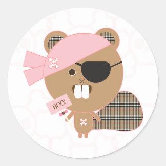 Pirate Beaver Cupcake Topper/Sticker Classic Round Sticker