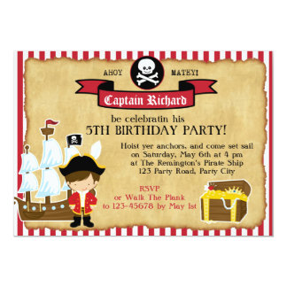 Pirate Birthday Invitation (with Ship & Map)