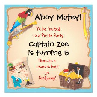 Pirate Birthday Party and Treasure Hunt Invites
