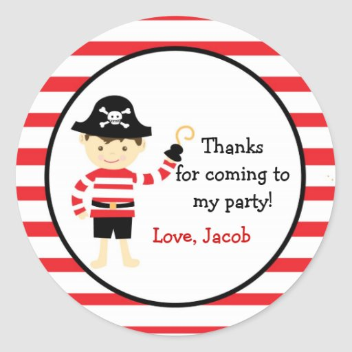 Pirate Birthday Party Favor Stickers Labels seals