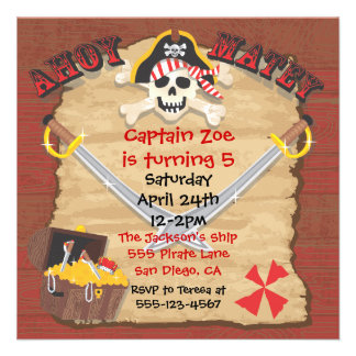 Pirate Birthday Party with Photo Insert Invitation