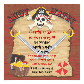 Pirate Birthday Party with Photo Insert 5.25x5.25 Square Paper Invitation Card