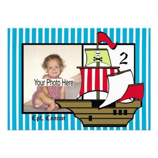 Pirate Birthday Ship Photo Custom Invites