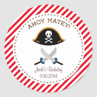 Pirate Birthday Thank You Sticker Red