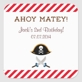 Pirate Birthday Thank You Stickers