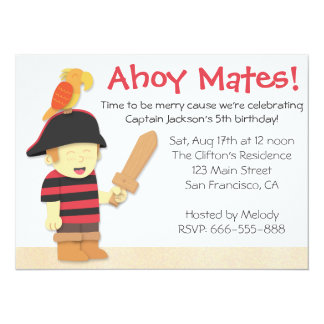 Pirate Birthday Theme: Pirate Boy with Parrot 5.5x7.5 Paper Invitation Card