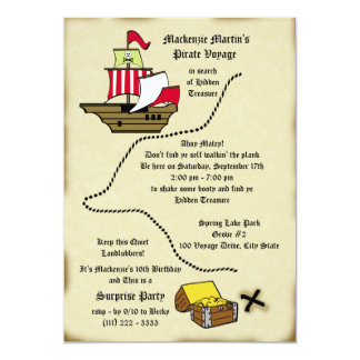 Pirate Birthday Voyage Map 5x7 Paper Invitation Card