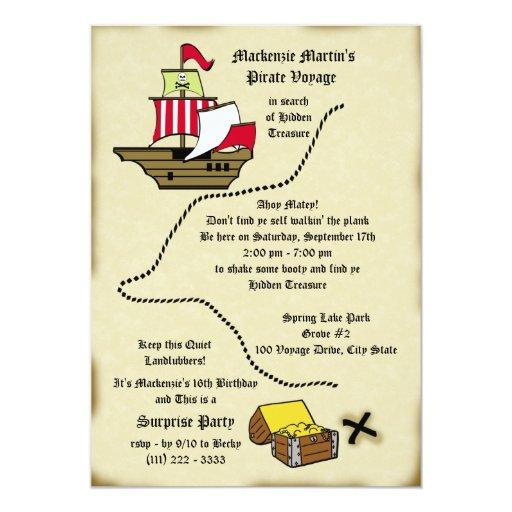 Pirate Birthday Voyage Map Card | Zazzle