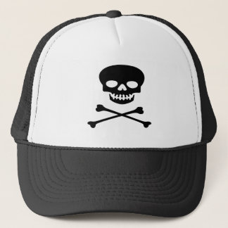 Pirate Black Skull and Crossbones Trucker Hat