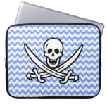 Pirate, Blue Chevron Jolly Roger Laptop Computer Sleeves