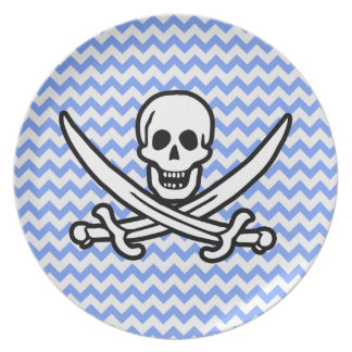 Pirate, Blue Chevron Jolly Roger Plates