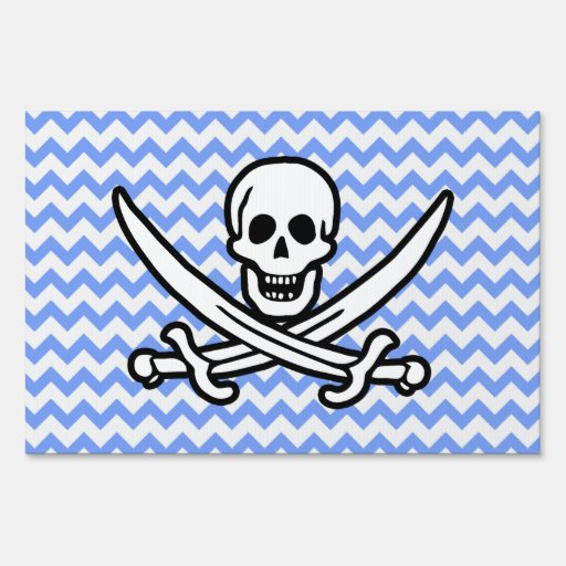 Pirate, Blue Chevron Jolly Roger Signs