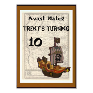Pirate Boat and Map Birthday Card