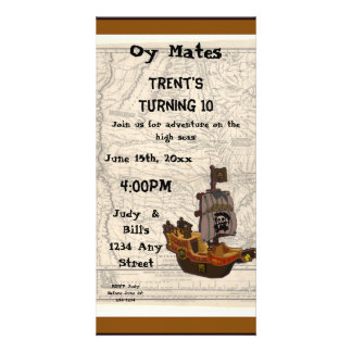 Pirate Boat and Map Birthday Custom Photo Card