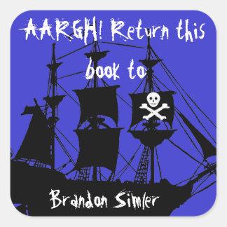 Pirate Bookplate -- AAArgh! Square Sticker