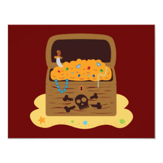 Pirate Booty Treasure Chest 4.25x5.5 Paper Invitation Card
