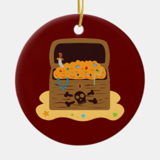 Pirate Booty Treasure Chest Double-Sided Ceramic Round Christmas Ornament
