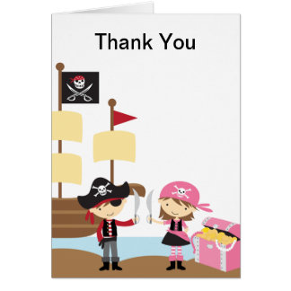 Pirate Boy and Pink Pirate Girl Note Card